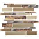 14.2 in. x 11.8 in. Glass and Stone Blend Strip Mosaic Tile - 8mm Thickness (DK-AD808089)